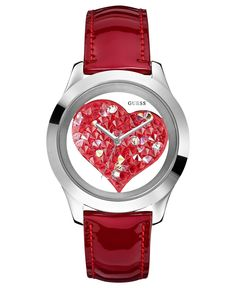 GUESS Watch, Women's Red Glitter Leather Strap