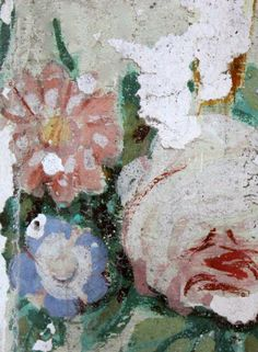 Some of the beautiful floral painting discovered during the restoration process at Chateau de Gudanes