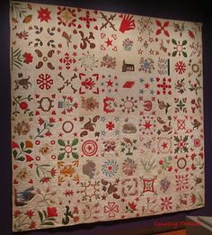 The Dunn Album Quilt - 1852 Made by the sewing group of the Fulton Street United Methodist Episcopal Church of Elizabeth Port, New Jersey. Displayed in the American Folk Art Museum.