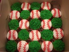 Baseball and Grass Cupcakes