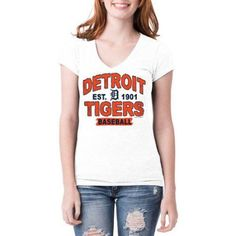 Detroit Tigers Womens Short Sleeve White Graphic Tee, Women's, Size: XL