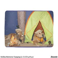 Golden Retriever Camping Receiving Blankets