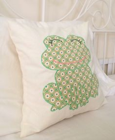 Green frog cotton appliqué on linen nursery accent by chubbyABC