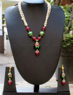 Elegant Meenakari & Pearl Necklace Set