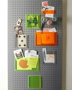 The family command center gets a modern upgrade thanks to Day-Glo Plexiglas. A sturdy pegboard base proves perfectly suited for sorting mail, displaying photos, and storing small items. Watch the full how-to.