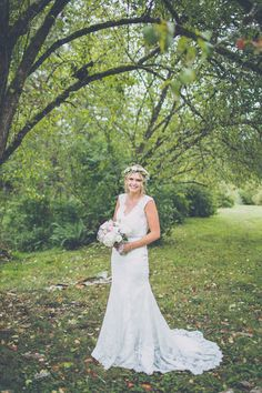 My wedding dress with my beautiful flower crown