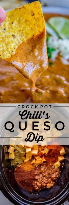 Copycat Chili's Queso Dip (Slow Cooker) from The Food Charlatan. I can't tell yo… Copycat Chili's Queso Dip (Slow Cooker) from The Food Charlatan. I can't tell you exactly how much of this queso dip I can eat, because I would never be able to look you in Chili Queso Dip, Chili Cheese Dips, Nacho Dip, Dips With Velveeta Cheese, Velveeta Queso Dip, Velveeta Recipes, Cheese Food, Chili Toppings, Cheese Sauce