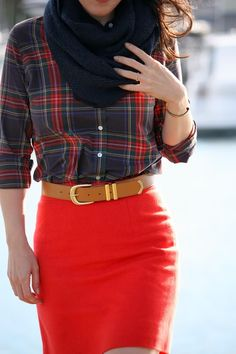 J Crew Plaid Shirt & Red Pencil Skirt