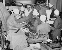 Dr Christiaan Barnard with his team. First heart transplant, December 1967.
