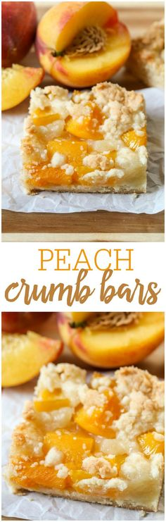 Peach Crumb Bars - a crumbly, soft and delicious bar topped with peaches and batter - perfect for the peach lover in the family! (Eid Sweet Recipes)