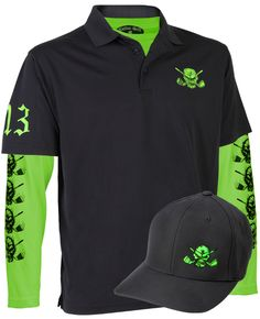 Lucky 13 Men's Polo, Under Shirt & Golf Hat (Black/Lime)