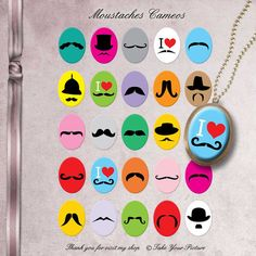 Moustaches Cameos 30x40 mm ovals  Digital by TakeYourPicture