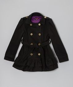 Take a look at this Blackthorn Belted Ruffle Coat - Toddler & Girls by Shampoo on #zulily today!