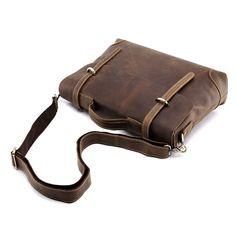 Men Crazy Horse Real Leather Antique Laptop Briefcase Attache Tote Shoulder bag