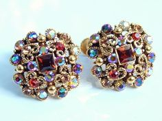 Joan Rivers Classic Limited Edition Rhinestone & Hearts Earrings - Screwback Pastel / Rainbow Colored Earrings - Fashion Icon - Celebrity Jewelry #ForSale #eBay #Jewellry Artisan Jewelry, Antique Jewelry, Vintage Jewelry, Jewelry Box, Screw Back Earrings, Heart Earrings, Rhinestone Earrings, Clip On Earrings, Fashion Earrings