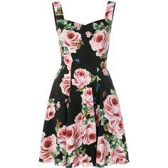 Dolce & Gabbana rose print flared dress ($2,404) ❤ liked on Polyvore featuring dresses, black, floral dresses, flower pattern dress, stretchy dresses, sweetheart neckline dress and rose print dress