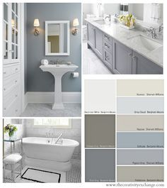 Tips and tricks for how to choose bathroom wall paint colors and cabinet colors. The Creativity Exchange
