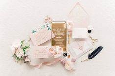 Dusty Rose Wedding Invite // Romantic Dusty Rose Wedding Inspiration via TheELD.com