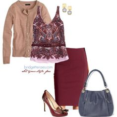 """Today's """"One Item, Five Fashionable Ways"""" is a burgundy ponte pencil skirt from @Ann Taylor. Find out why ponte is an excellent choice of fabric for warmth, fit and versatility and check out the five ways I styled this skirt. via @Bridgette Raes"""