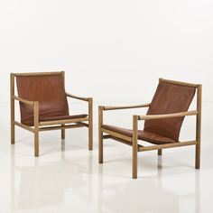 Jørgen Nilsson; Oak and Leather Lounge Chairs for JH Johansens.