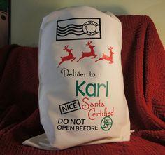 Custom Santa Sack  Customized canvas bag  Santa by LacrosseMomz
