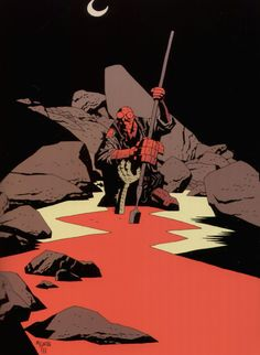 "westcoastavengers: ""Hellboy by Mike Mignola "" Comic Book Artists, Comic Artist, Comic Books Art, Comic Book Covers, Darkhorse Comics, Anime Comics, Illustrations, Illustration Art, Mike Mignola Art"