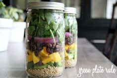 """Mango Avocado Black Bean Salad. """"I layered in this order  — quinoa, avocado, mango, black beans, onion, lettuce. I used the black beans and onion as a buffer between the wet and dry ingredients. Perfect for three days in the refrigerator."""""""