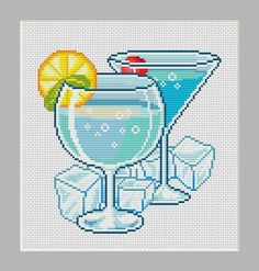 Ice Cold Summer Drinks Counted Cross Stitch от InstantCrossStitch