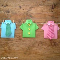 Camisa de origami - Origami shirt- Una ideas genial para el día del padre- A nice idea for fathers day gift -  Que bonitas y divertidas nos han quedado las camisas de origami no te pierdas cómo hacerlas paso a paso en nuestra web