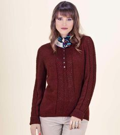 US 3. Naturally--Robin Melanson--Smocked Stitch and Openwork Cable Henley