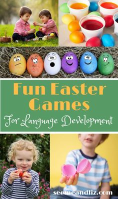 There are so many Toddler Easter Activities around. Find out how to incorporate speech and language development into these activities while keeping them fun and play based. Fun Easter Games, Easter Activities For Toddlers, Learning Toys For Toddlers, Spring Activities, Toddler Learning, Infant Activities, Toddler Preschool, Crafts For Kids, Family Activities