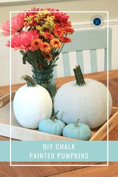 DIY Chalk Painted Pumpkins For Fall - Pretty Extraordinary Painting Pumkins, Diy Painting, Diy Room Decor For Girls, Diy For Girls, Easy Diy Crafts, Decor Crafts, Painted Pumpkins, Autumn Theme, Diy Crafts For Kids