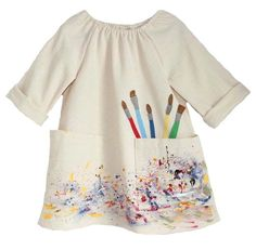 Pack kids art as children art smock with waterproof long sleeve 3 roomy pockets pink and yellow server a a sewing pattern from topcorner aqua kids art smock cotton kids art smock children a Clothing Labels, Clothing Patterns, Kids Art Smock, Painting Apron, Smocks, Artists For Kids, Kids Store, Textiles, Cute Outfits For Kids