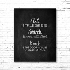 JESUS QUOTE   Ask, Search, Knock   PRINTABLE Artwork   Biblical Quote   Chalkboard Style