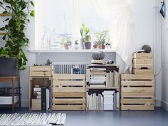 ikea knagglig crates for shelving in light bedroom