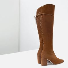 Image 3 of HIGH HEEL LEATHER BOOTS WITH LACES from Zara