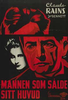 Swedish poster by Walter Fuchs, 1934, The Man Who Reclaimed His Head by Edward Ludwig.