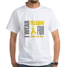 Cafepress Personalized Customize Yellow Awareness Ribbon White T-Shirt, Size: XL