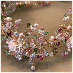 The delicate Florence vine with subtle pinks and green crystals and dusky pink pearls, capturing a little piece of Summer. Pink Pearls, Hair Vine, Designer Wedding Dresses, Hair Jewelry, Bridal Accessories, Wedding Bride, Florence, Pink And Green, Summer Wedding