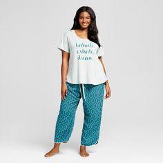 Women's Plus Size Sleepwear Textured Knit Pajama Set Green 4X