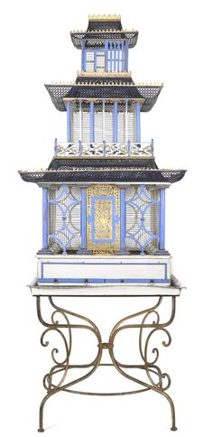 A Large Victorian Pagoda-Form Bird Cage, Height without base table approx.