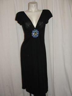 PRAIRIE New York Black Modal Semi-precious Stones Plunging Neck Dress Size L #PRAIRIENewYork #EmpireWaist…