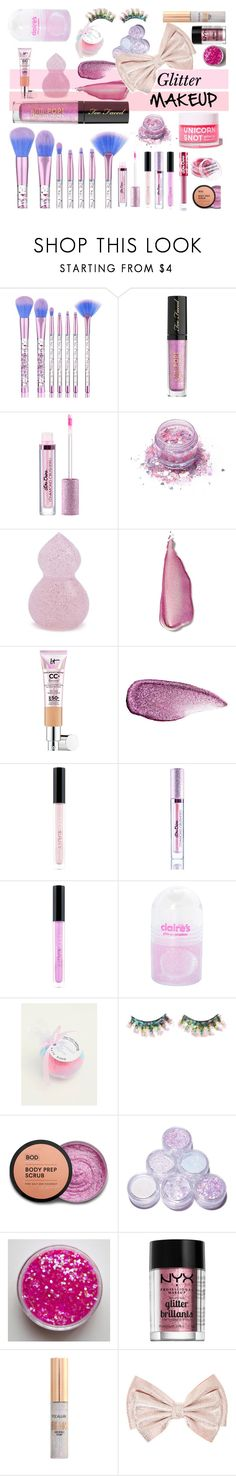 """""""Glitter makeup - Contest Entry"""" by roses-are-beauty on Polyvore featuring beauty, Too Faced Cosmetics, Lime Crime, FromNicLove, Forever 21, Stila, It Cosmetics, Huda Beauty, claire's and Torrid"""
