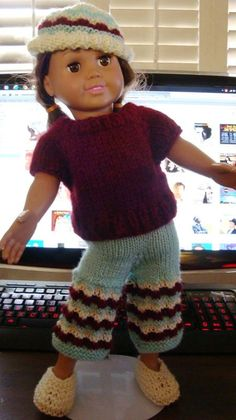 Ladyfingers - AG doll - Angora Sweater with 3-color Cropped Pants and Hat