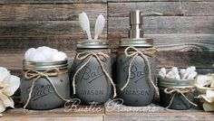 Check out this item in my Etsy shop https://www.etsy.com/listing/525282309/4-piece-bathroom-mason-jar-set
