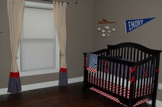 vintage baseball nursery - love this theme if we ever have a boy and love love love the curtains! Toddler Rooms, Baby Boy Rooms, Baby Boy Nurseries, Baby Room, Nursery Boy, Nursery Ideas, Baseball Bed, Vintage Baseball Nursery