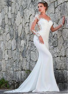 5afcfb2111f46c hoge hals lange mouw zeemeermin open rug goud pailletten avondjurk 2015.  Meer bekijken. Fantastic Tulle   Acetate Satin Scoop Neckline Mermaid  Wedding Dress ...