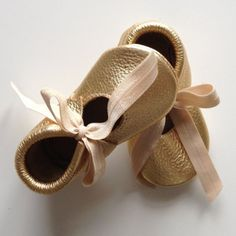 Buy Now Gold Bella Moccasins by StitchesAndSoles.
