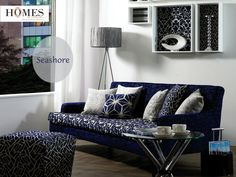 Royal blue accentuates the interiors and creates a 'wow' appeal. Explore our collections @ www.homesfurnishings.com #HomesFurnishings #Cushions #Upholstery #HomeDecor #HomeInterior #HomeFurnishingCollection #UpholsteryCollection