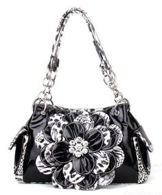 Leopard Black Flower Rhinestone Handbag Only $44. Find more at andreasonlinestore.com